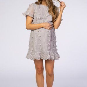 Pinkblush Gray Floral Applique Flounce Dress M